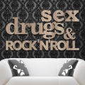 Sex drugs & rock`n`roll - napis 3D