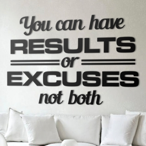 Results or excuses - napis 3D na ścianę